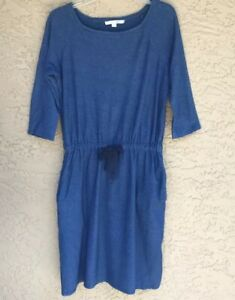 Boden-Blue-Cotton-Knit-Dress-Womens-6R-US-Blue-3-4-Sleeves-Drawstring