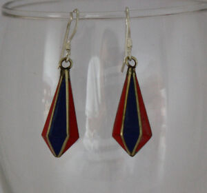 Asian-sterling-silver-brass-earring-tibetan-coral-stone-handmade-hook-tops-GLE5