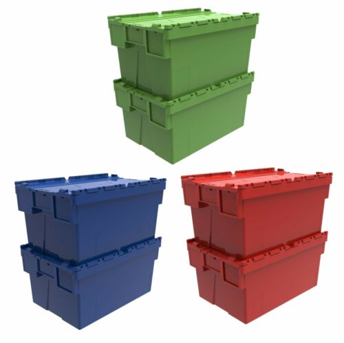 5 x 56 Litre Coloured Plastic Storage Boxes Containers Crates Totes with Lids