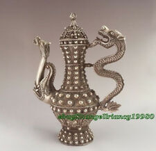 Chinese Ancient Handwork Antique Style tibet silver Hand Carved Dragon teapot