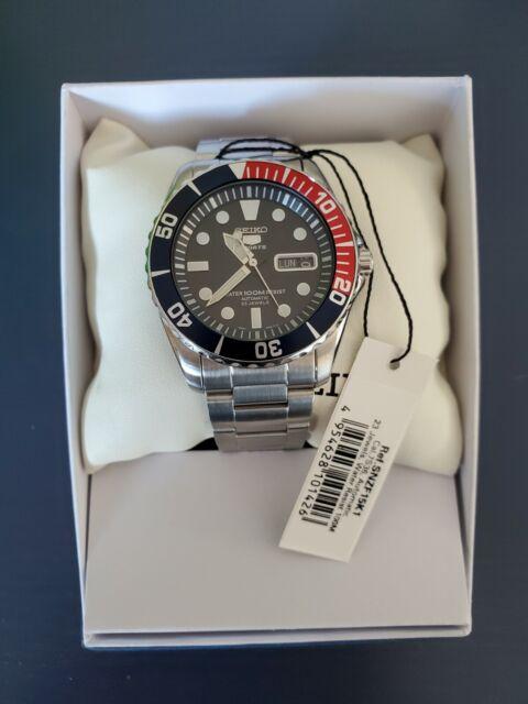 Seiko Submariner Dark Blue Red Men's Dive Wrist Watch Automatic Pepsi - SNZF15K1