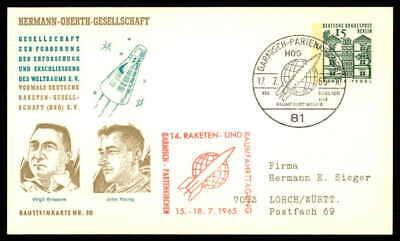 Berlin Privat-ga 1965 Weltraum Space Bausteinlarte 30 Hog Hermann Oberth Ep31