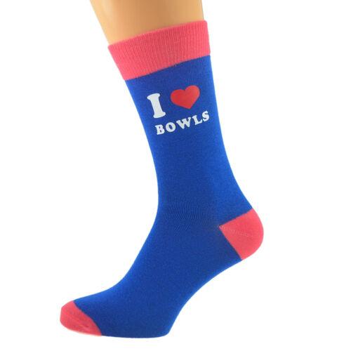 Unisex Blue /& Salmon Pink Unisex Socks I Love Bowls UK 5-12