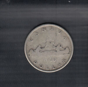 1936-CANADA-SILVER-LUCKY-POCKET-DOLLAR-COIN