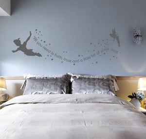 Tinkerbel peter pan kid bedroom wall sticker decal diy uk sh198 ebay - Wall stickers camera da letto ...