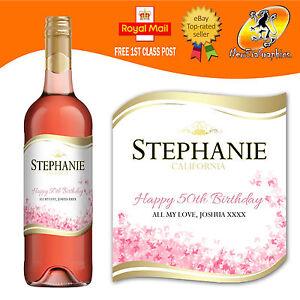 Personalizzata-Rosa-Bottiglia-di-Vino-Etichetta-COMPLEANNO-OGNI-OCCASIONE-REGALO