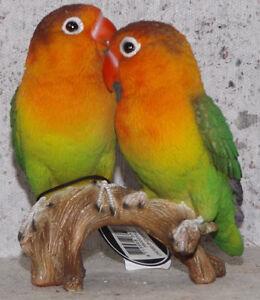 Papageien-Unzertrennliche-Voegel-13-11-8cm-Dekofigur-Deko-Tier-Polyresien
