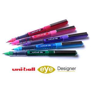 Uni-Ball-Eye-Rollerball-Pen-UB-157D-Designer-5-Pen-Set-Swatch-Colours-Pack