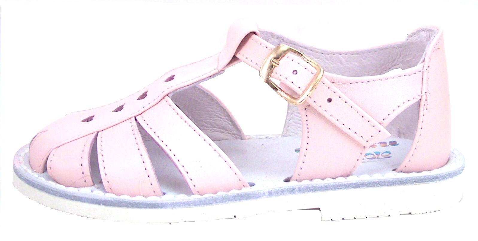 Toddler Girls/' Pink Leather European Fisherman Sandals DE OSU 8064 Size 4-10