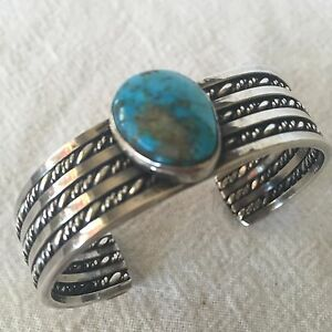Vintage-NAVAJO-Sterling-amp-TURQUOISE-Cuff-BRACELET-Wide-Twisted-Silver-Band-43g