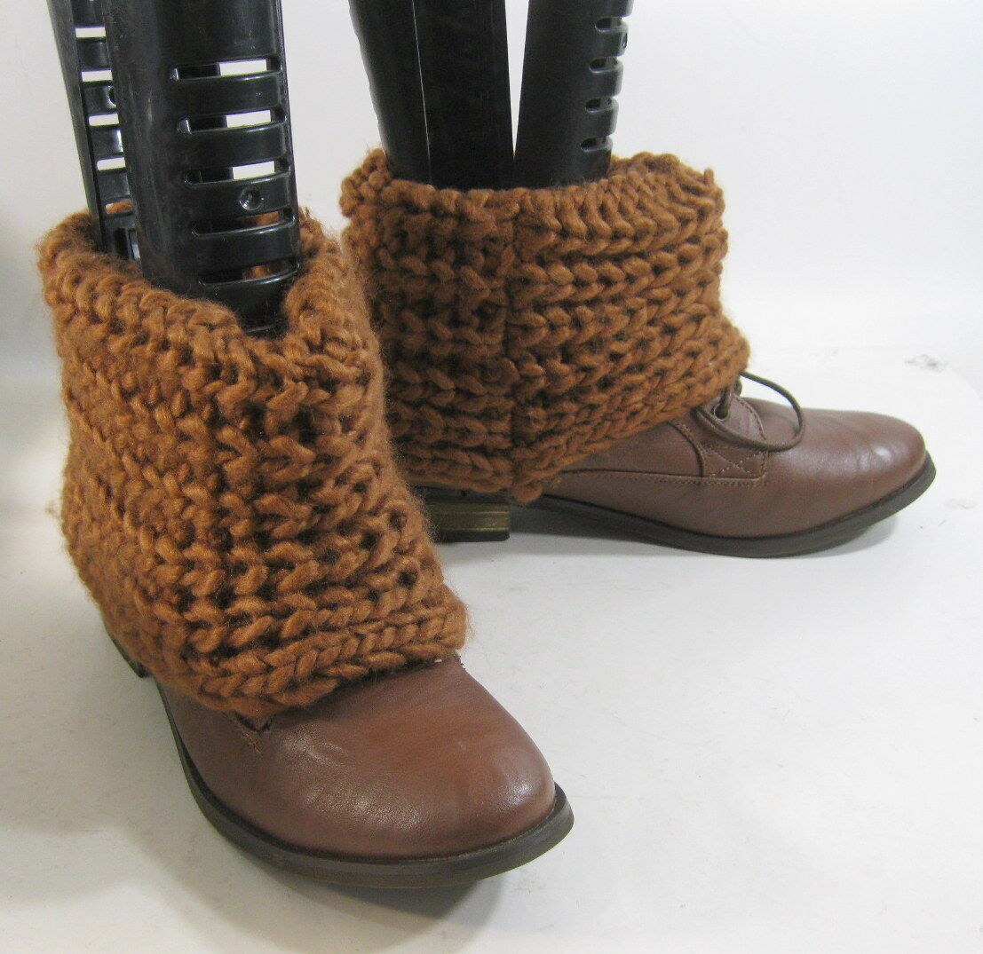 "Tan 1.5"" Low Block Heel Lace Up Wool Sock Sexy Ankle Boots Size 7"