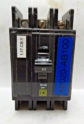 NEW Square D QOU340 3 Pole 40 Amp 240 Volt QOU Circuit Breaker