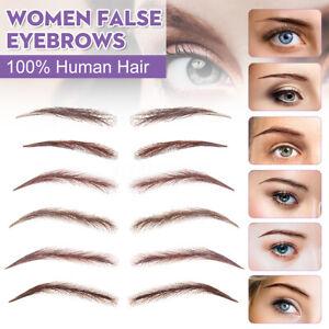 Reusable-High-Quality-false-100-Human-Hair-Lace-Base-Eyebrows-Wig-Brown-Blonde