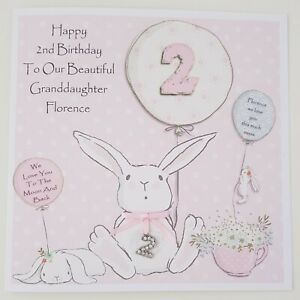 1 Charm Any Age 5 Daughter// Grandaughter Personalised Birthday Card 4 3 2