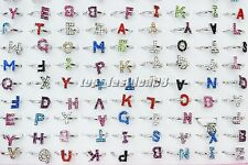 Wholesale lots jewelry 10pcs Full Rhinestone Silver Tone Letter Woman Ring FREE