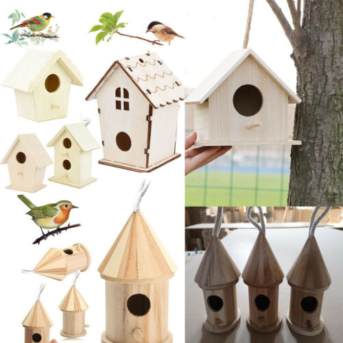 Bird House Nest Box Wooden Bird Box Wood Birdhouse Garden Hanging Decor Home