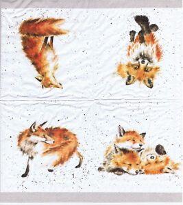 3 SERVIETTES EN PAPIER RENARD RENARDEAU GRIS 3 PAPER NAPKINS FOX GREY FOX CUB