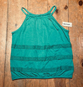 NWT-Old-Navy-Girls-Knit-Tank-Shirt-teal-green-blue-lace-you-pick-size