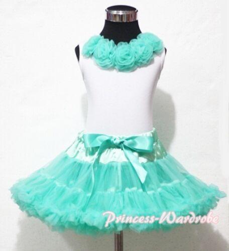 Xmas Aqua Blue Pettiskirt Skirt Tutu White Top Aqua Blue Rosettes Girl 1-8Year