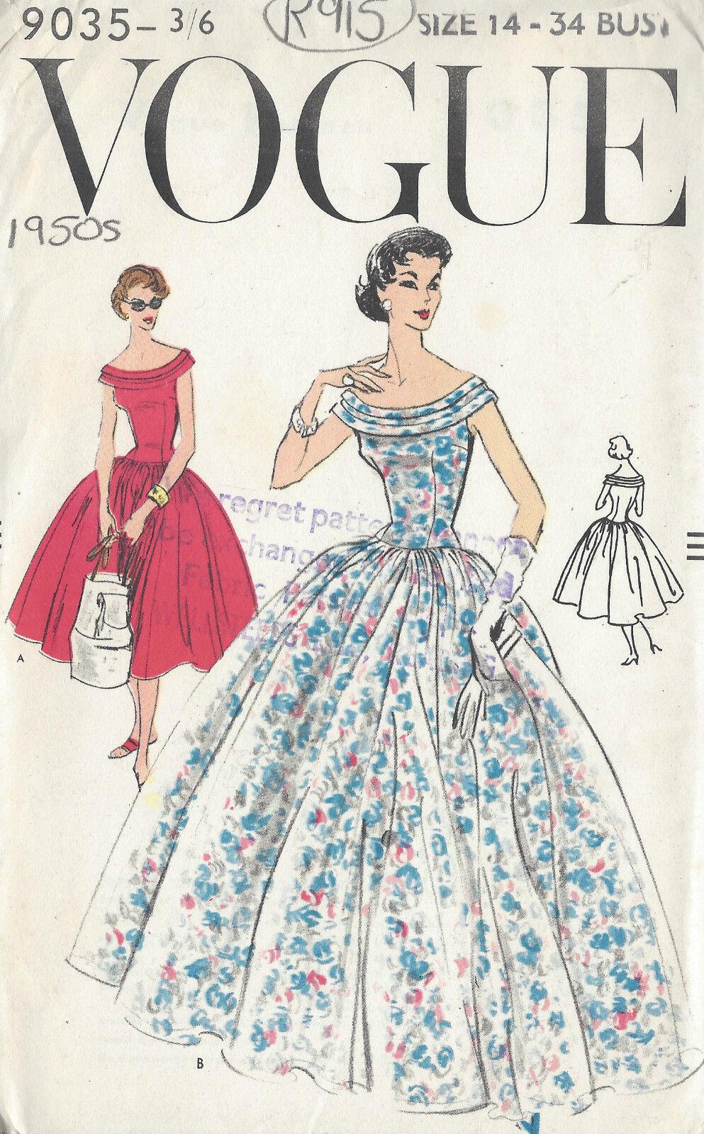 50er Jahre Vintage Vogue-schnittmuster B34 Kleid (r915)   eBay
