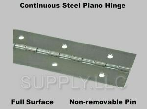 """2/"""" x 72/"""" Piano Hinge No Holes Weldable Steel Finish Continuous Nonremovable Pin"""