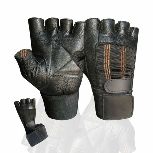 GYM fitness body building weight lifting training long strap leather gloves 201