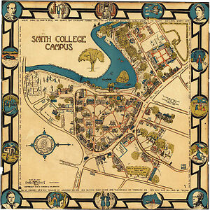 1928 Smith College Campus Map Wall Art Print Decor Vintage