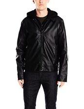 NWT $250 Calvin Klein Mens Premium Stylish Faux Leather Hoodie Jacket Large