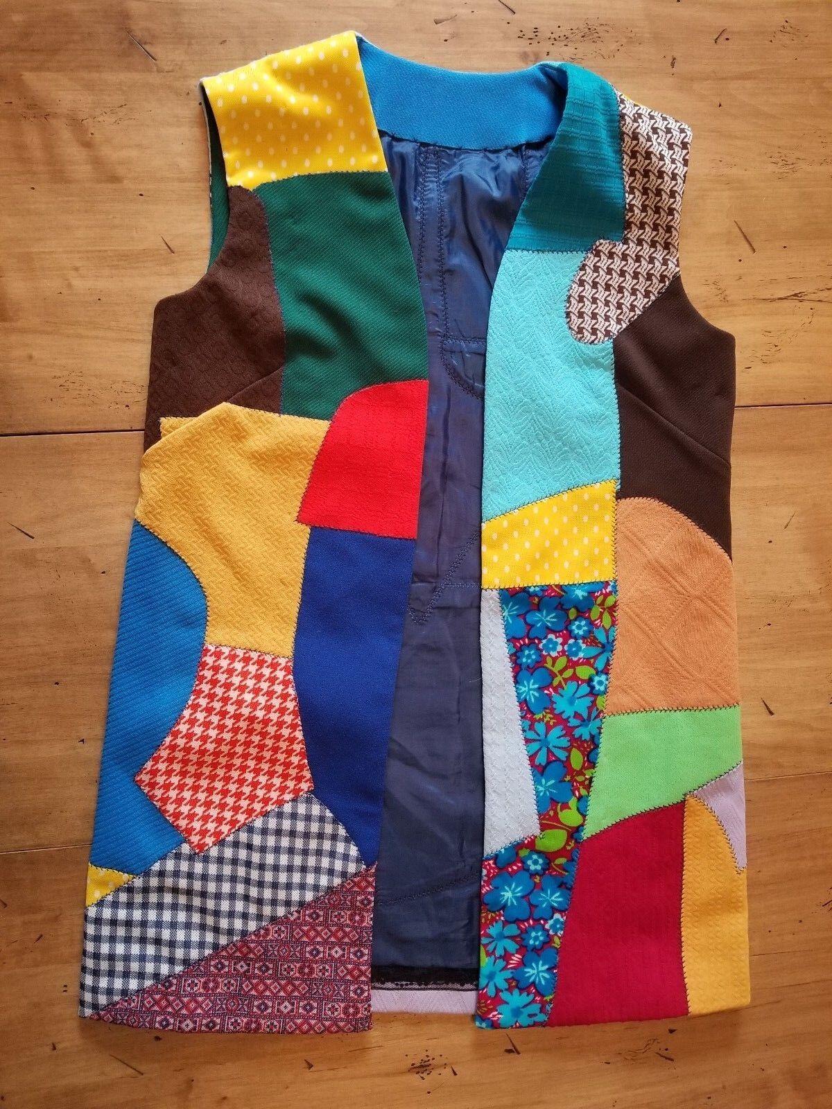 Retro Crazy Quilt Handmade Long Vest Funky Bright 60's 70's Groovy VTG Hippie