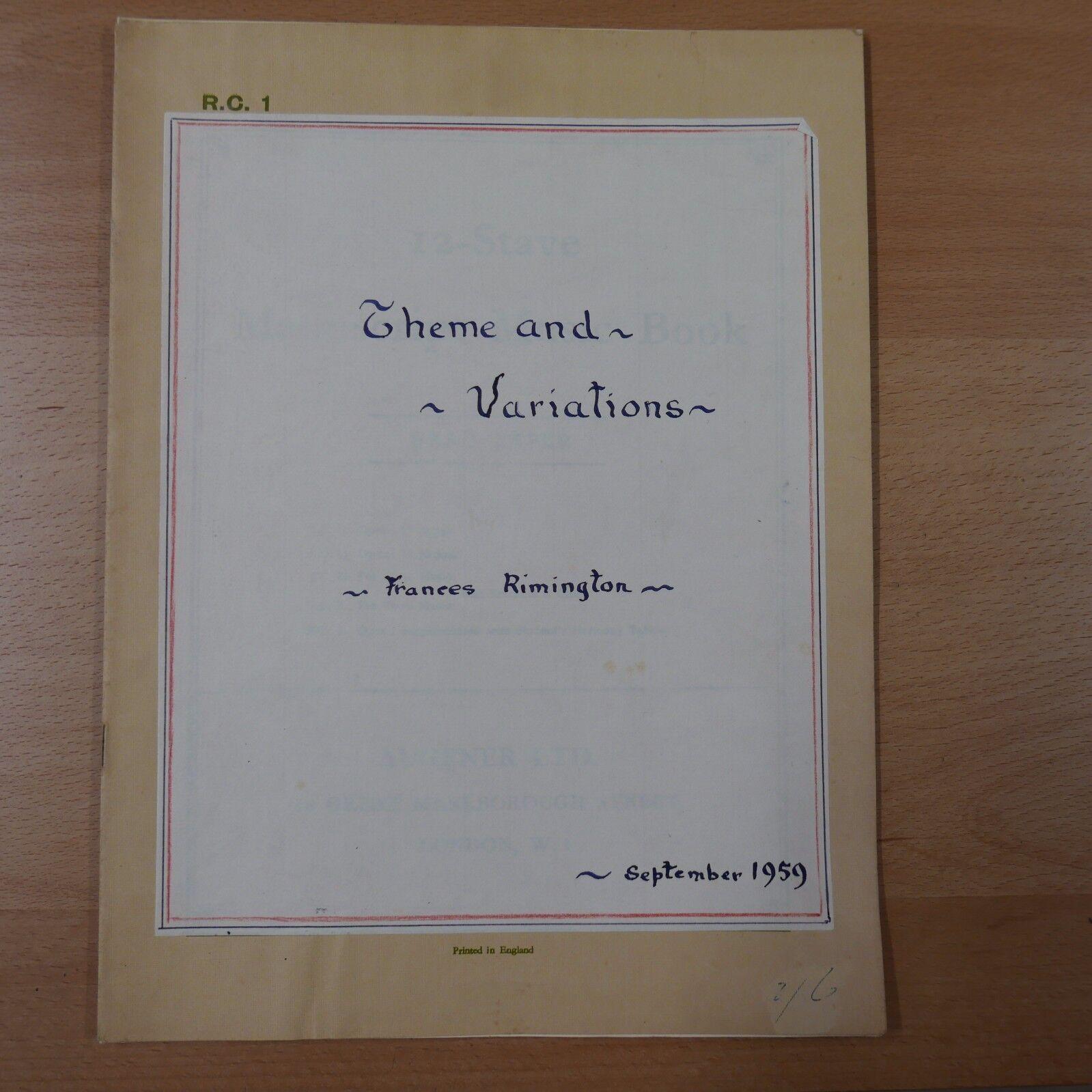 THEME AND VARIATIONS by frances rimington 1959 , harpsichord   piano manuscript