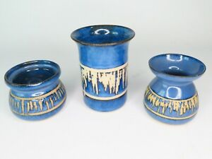 3-x-Bentham-Pottery-Studio-Blue-amp-White-Icicle-Design-Vases-Made-In-Yorkshire