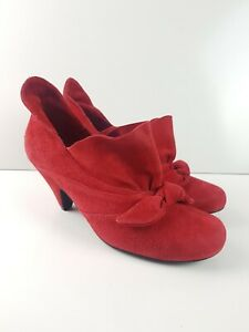 Emma-Kate-Red-Suede-Leather-Mid-Heel-Shoe-Women-039-s-Size-EUR39-Party-Ankle-Boot