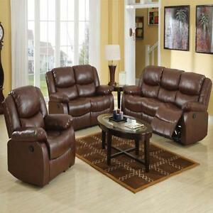 Full Reclining Brown 3pc Motion Sofa Loveseat Recliner Modern Living Plush Seat