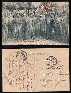 FRENCH-INDOCHINA-1910-PPC-VAPEUR-CANCELS-on-10c-CHO-MA-TRIBE-HAUT-DONAI