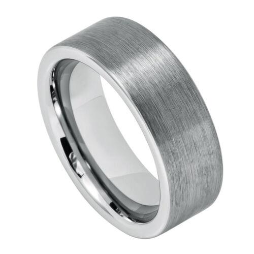 8mm Men /& Ladies Tungsten Carbide Pipe Cur Brushed Finish Wedding Band Ring