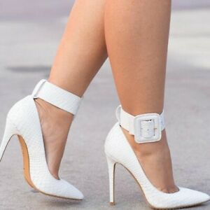 Women-039-s-Ankle-Buckle-High-Heels-Pumps-Pointed-Toe-Stilettos-Shoes-UK-2-5-10-5