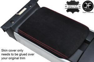 BLACK /& RED TOP GRAIN REAL LEATHER 2X ARMREST COVERS FITS MAZDA RX8 2003-2012