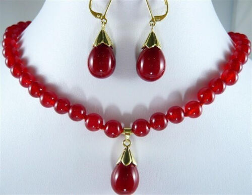 """charrming 8mm Red Ruby Gemstones Necklace Earring set 18/""""AAA"""