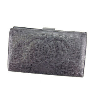 f213659e7f74ce Chanel Wallet Purse Long Wallet COCO Black Gold Woman Authentic Used ...