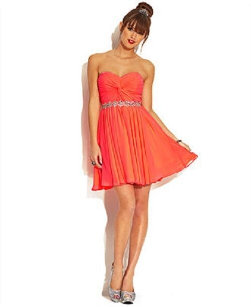 New City Studio Junior Strapless Party Dress Soft Coral color Size 9 MSRP  89.00