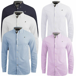 Mens-Work-Shirt-Oxford-Long-Sleeve-Cotton-Button-Down-Poplin-Casual-Top-Kangol