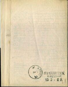 414503) Saar Bahnpost L3 Saarbrueck Gare Sur Faltbrief 1859 De Pays-bas-afficher Le Titre D'origine