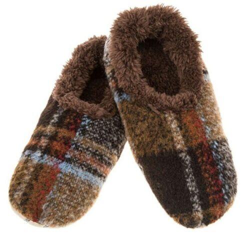 SNOOZIES RUST LARGE MENS DAD GRANDAD Plaid Slippers Sherpa Fleece Soft Non Slip