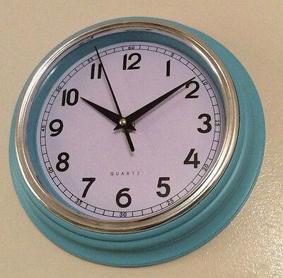 RETRO DUCK EGG BLUE HOME OFFICE KITCHEN WALL CLOCK