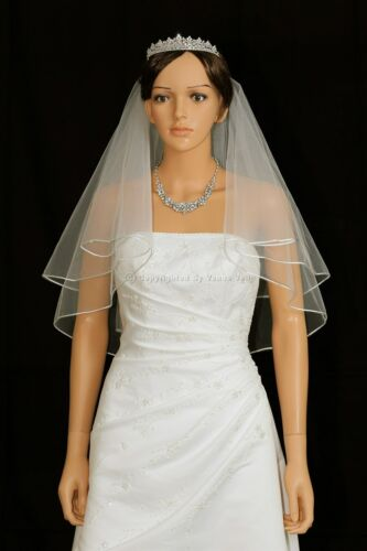 2T Ivory Shoulder Short Length Rattail Edge Center Gathered Bridal Wedding Veil