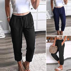 Mode-Femme-Pantalons-Quotidien-Casual-en-vrac-Poche-Slim-Loisir-Simple-Plus
