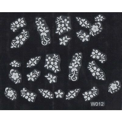 Nail Art White Stickers Flowers Butterfly with Stones 3D Design Decoration Tips