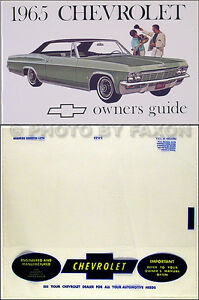 1965 chevy owners manual with envelope impala ss caprice bel air rh ebay com Buick Roadmaster 1987 Chevy Caprice Landau