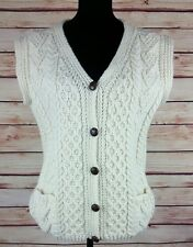 Women's Ireland Wool Hand Knit Cable Cardigan Sweater Vest By Francis Daunt Sz L