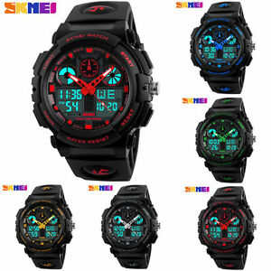 SKMEI-Digital-Sport-Watch-Kids-Mens-Date-Alarm-LED-Analog-Quartz-Waterproof
